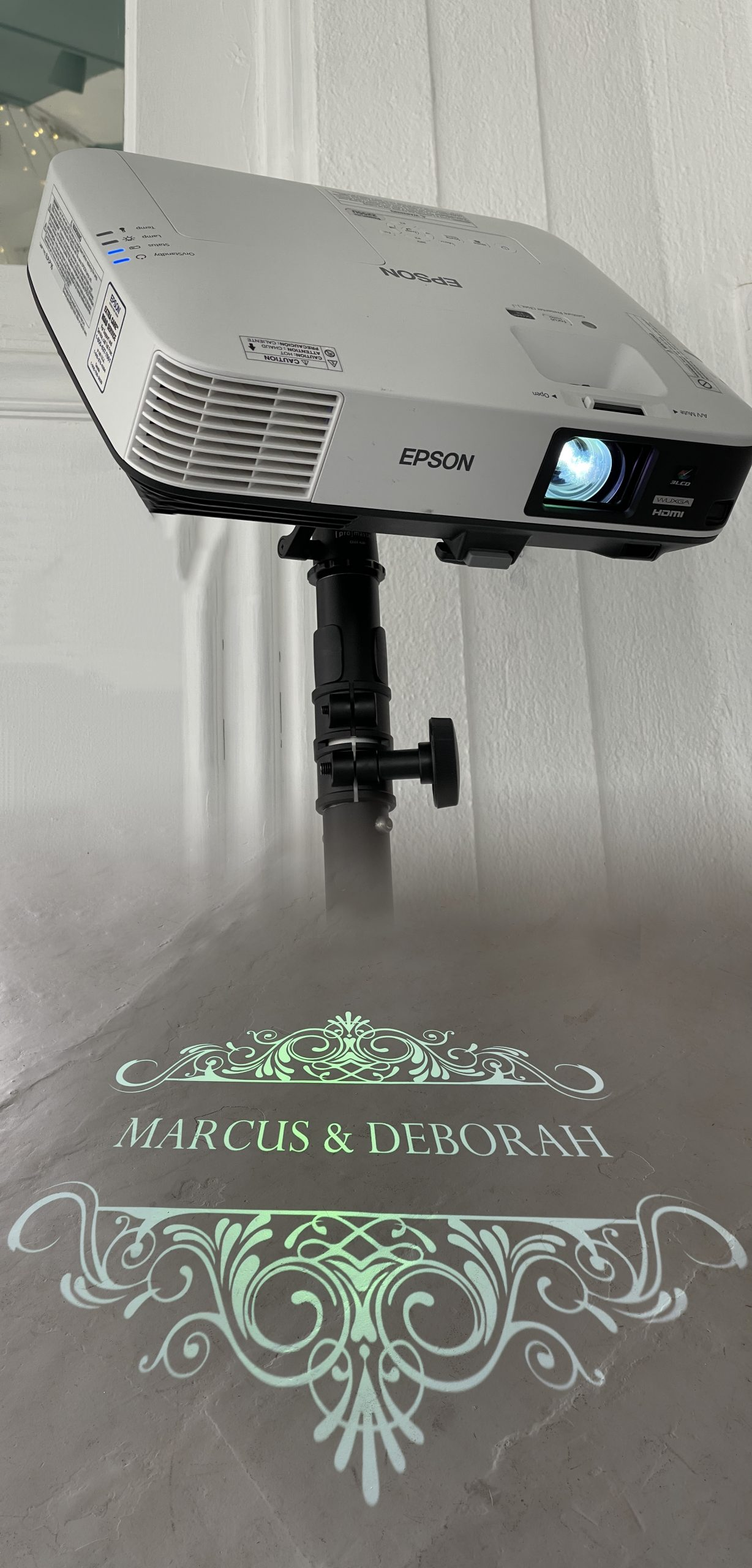 Projector images for weddings, parties, events.